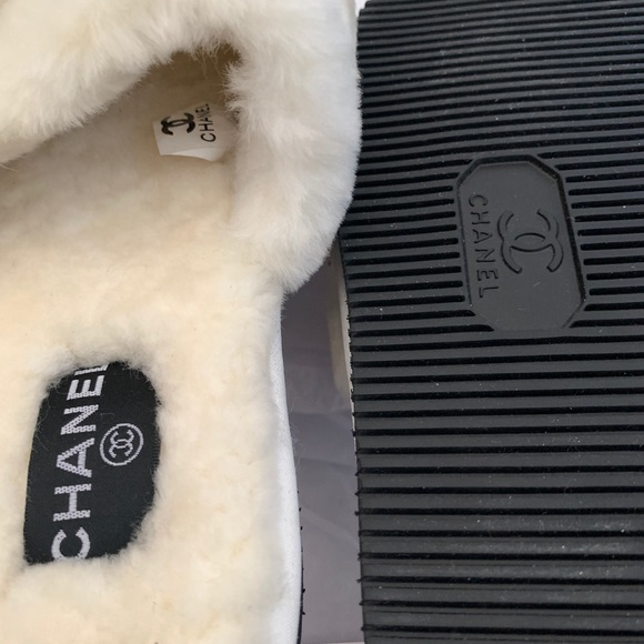Chanel Furry Slippers/Slides